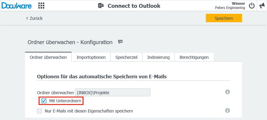 Konfigurationsassistent von Connect to Outlook
