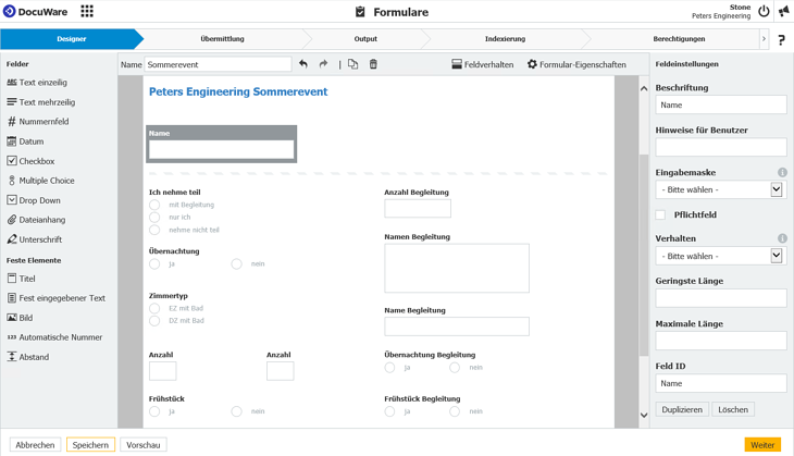 Formulardesigner in DocuWare