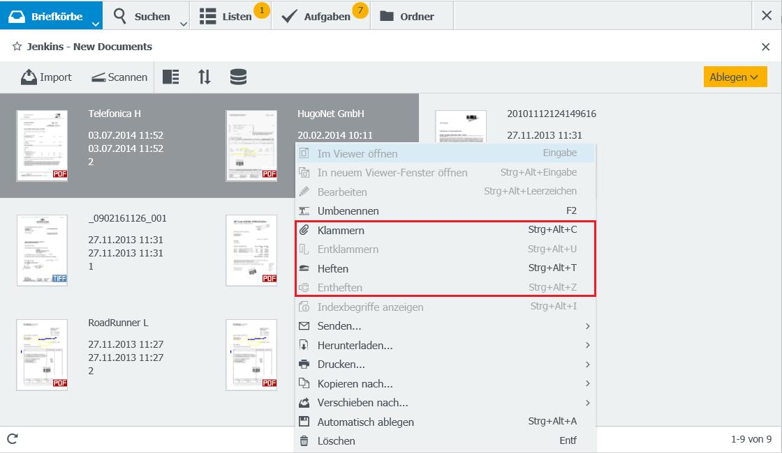 """Um Dokumente im Briefkorb zusammenzufügen, stehen die Funktionen """"Heften"""" und """"Klammern"""" zur Verfügung."""