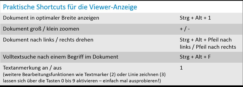 Praktische Shortcuts für die Viewer-Anzeige