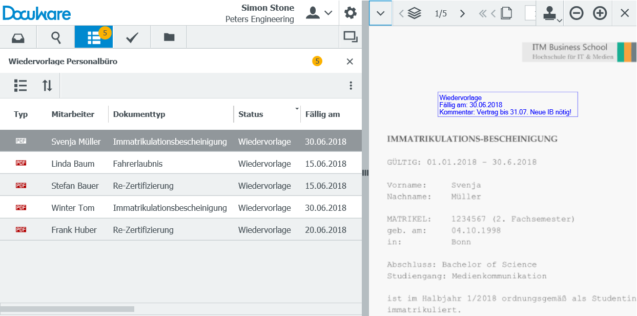 Ansicht der Wiedervorlage-Liste im Web Client – fällige Dokumente erscheinen automatisch