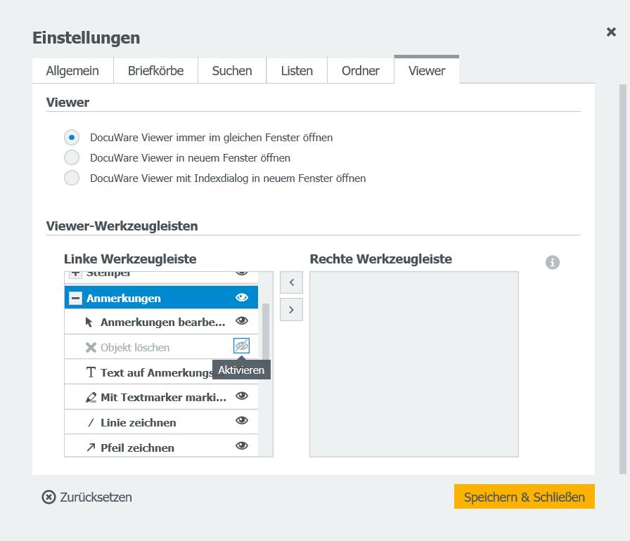 Öffnen Sie im DocuWare-Menü die Einstellungen und wählen das Register Viewer.