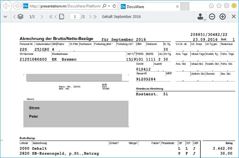 HR-Archiv: Nur den eigenen Gehaltszettel sehen
