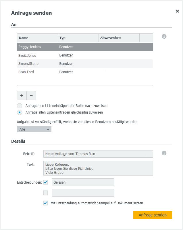 """Funktion """"Anfrage senden"""" im DocuWare Client"""