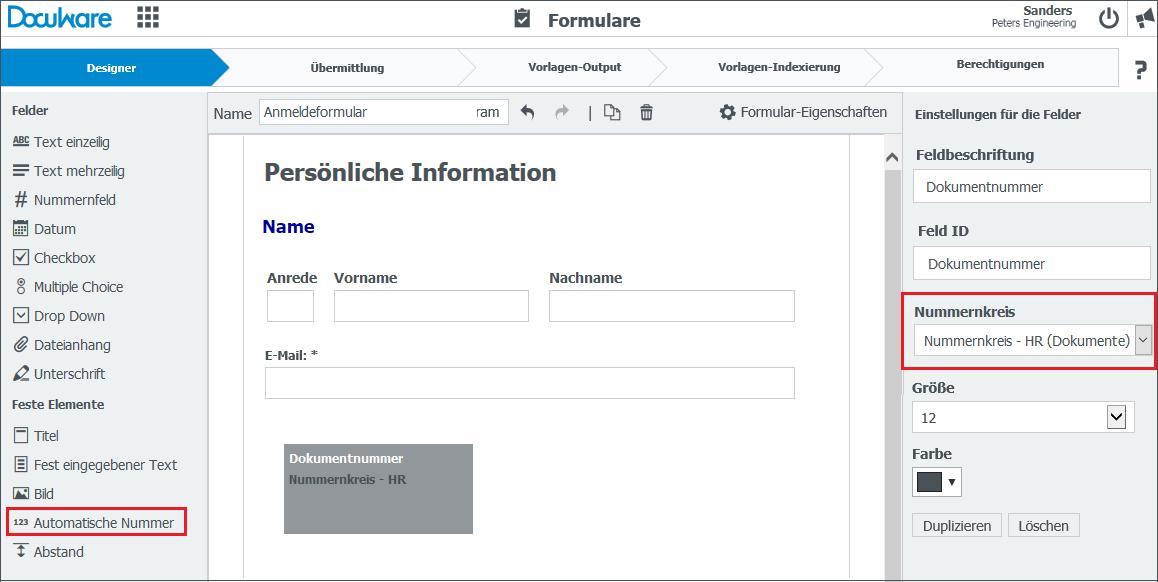 Webformulare können mit einer automatisch vergebenen, eindeutigen Nummer im Archiv abgelegt werden