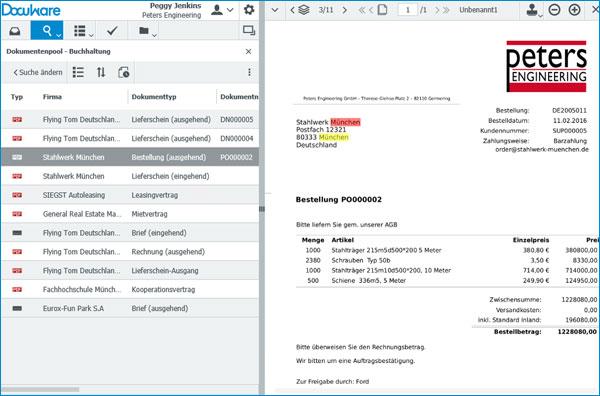 Die bei der Volltextsuche gefundenen Begriffe sind im Dokumenteninhalt farbig markiert.