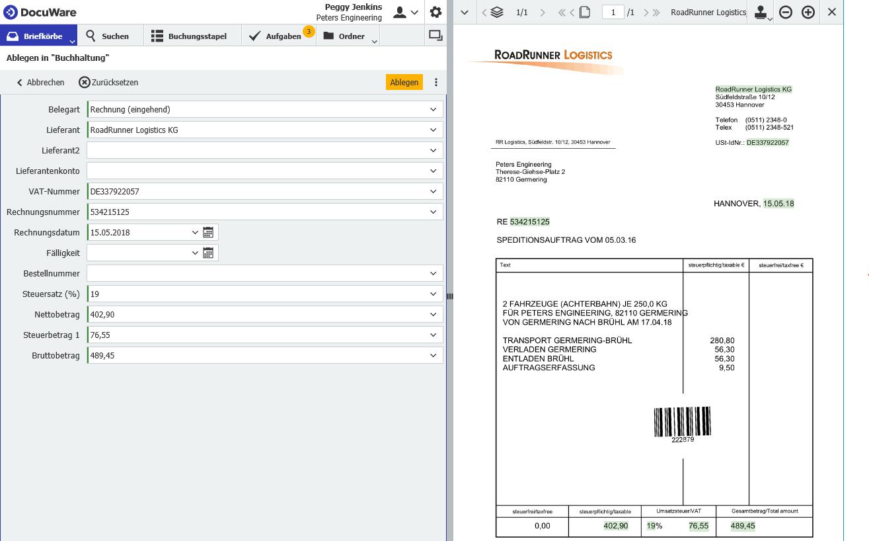 Intelligent Indexing liest die Daten einer Rechnung aus.