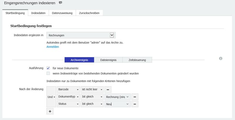 """Mit der Autoindex-Startbedingung """"Archivereignis"""" startet der Indexierungsjob, sobald ein neues Dokument abgelegt wird"""