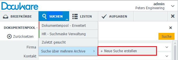 """Um eine Suche über mehrere Archive zu erstellen, gehen Sie auf """"Suchen > Suche über mehrere Archive > Neue Suche erstellen""""."""